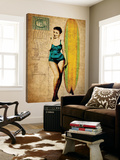 Pinup Girl Surfing