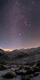 A Starry Sky over the Zagros Mountains after a Snowstorm the Setting Moon Shines on the Peaks