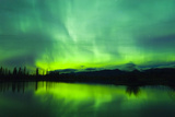 Green Aurora Borealis over Small Pond in Kluane National Park  Yukon Territory  Canada