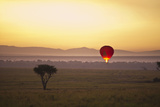 A Red Hot Air Balloon Takes Flight Against the Glowing Sky at Sunset; Masai Mara Kenya