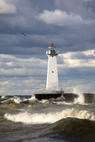 Sodus Outer Lighthouse on Stormy Lake Ontario; Sodus Point  New York  USA