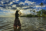 A Hula Dancer in Low Tide Water in Front of Kapuaiwa Palm Grove  Molokai Island