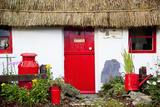 Traditional Irish Cottage with a Red Door and Red Decorative Items; Currabinny County Cork Ireland