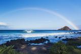 Hawaii  Maui  Hana  Dramatic Coastline  Rainbow over Ocean