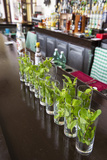 Glasses on the Bar with Ingredients for Mojitos at the Hotel Nacional in Havana Viejo