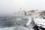 Sea Smoke Rises Up around Maine's Portland Head Light on a Cold Winter's Day