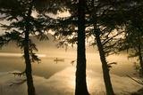 Canoeist on Mendenhall Lake in Morning Mist Se Ak Summer Silhouette