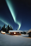 Northern Lights over Cabins Sheep Mtn Lodge Winter Ak Southcentral Snow Blue Green Scenic