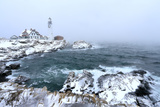 Maine's Portland Head Light Is Festively Decorated on a Cold and Foggy Winter's Day