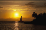 Hawaii  Maui  Makena  a Silhouette of a Sailboat at Sunset
