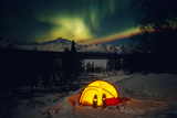 Tent Camping Winter Northern Lights Mile 135 Parks Hwy Ak Mt Mckinley Interior Snowshoes