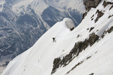 A Skiier Descends from the Summit of Pyramid Peak in Colorado