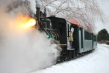 The Polar Express Moves Through a Snowy Landscape on Maine's Narrow Gauge Railroad