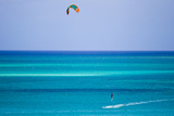 A Man Kite Surfing in the Turquoise Waters of the Caribbean Sea