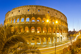 The Ancient Roman Colosseum Casts an Illuminated Golden Light at Dusk