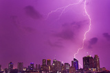 A Intense Thunderstorm with Lightning over the Skyline of Manila