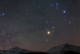 The Head of Constellation Scorpius with Bright Star Antares Rises Above the Alps  in Austria