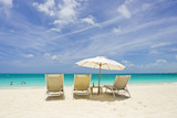 Empty Beach Chairs in the Sand on a Tropical Beach in the Caribbean