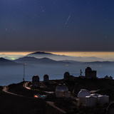 A Colorful Meteor Photographed Above Telescope Domes and Inversion Layer