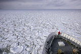 A Cruise Ship Pushes Through the Ice Pack in Grandidier Channel