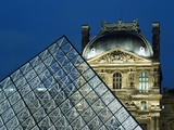 Detail of the Glass Pyramid Outside the Louvre Museum at Dusk
