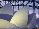 Looking over the Opera House to the Sydney Harbor Bridge  Close Up