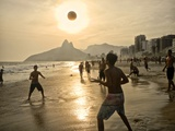 Young Men Play Beach Football on Ipanema Beach as the Sun Sets
