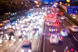 Double Exposure of Night Traffic Scene