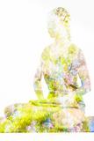 Nature Harmony Healthy Lifestyle Concept - Double Exposure Image of Woman Doing Yoga Lotus Position Papier Photo par F9photos
