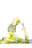 Nature Harmony Healthy Lifestyle Concept - Double Exposure Image of Woman Doing Yoga Asana King Pig