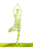 Nature Harmony Healthy Lifestyle Concept - Double Exposure Image of Woman Doing Yoga Tree Pose Asan Papier Photo par F9photos