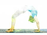 Nature Harmony Healthy Lifestyle Concept - Double Exposure Image of Woman Doing Yoga Asana Upward B Papier Photo par F9photos