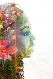 Double Exposure Portrait of A Young Woman with Colorful Flowers Papier Photo par Illu