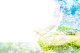 Nature Harmony Healthy Lifestyle Concept - Double Exposure Clouse up Image of Woman Doing Yoga Asa