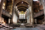 Ruins of the Sanctuary at the Abandoned City Methodist Church in Gary  Indiana