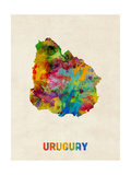 Uruguay Watercolor Map