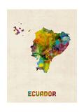 Ecuador Watercolor Map