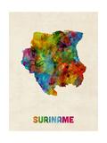 Suriname Watercolor Map Reproduction d'art par Michael Tompsett