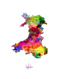 Wales Watercolor Map