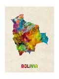 Bolivia Watercolor Map