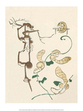 Japanese Drawing of Monkeys and Weasels