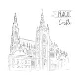 Hand Drawn Illustration of Prague Castle  Czech Republic