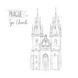 Hand Drawn Illustration of Tyn Church Building in Prague  Czech Republic