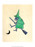Green Witch on Broomstick