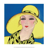 Art Deco Woman in Summer Yellow Hat