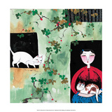 Chinese Folk Art - Cats among the Vine Creepers