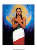 Retro Mexican Poster  Flag Girl