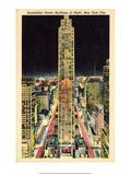Vintage New York Postcard - Rockefeller Center at Night