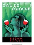 Vintage Art Deco Label  Eau de Cologne  Kaisva  Paris