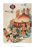 Chinese Happy New Year Babies with Giant Peach